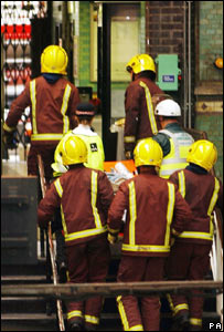 Fire crew at Aldgate Station