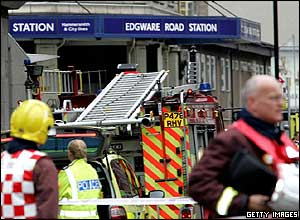 Emergency services evacuated passengers at Edgware Road in North London following one of the blasts
