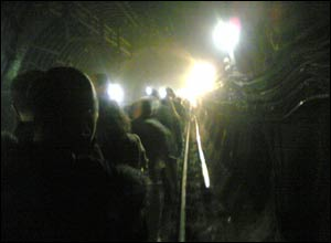 Passengers leaving an underground train