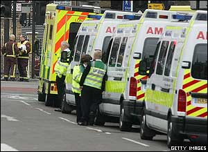 Queues of ambulances waited outside Kings Cross station while the victims were evacuated