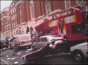 Aftermath of Tavistock Square bus blast