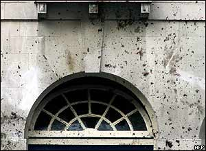 Blood stains a wall in the area around the wreckage at the junction of Tavistock Square and Woburn Place