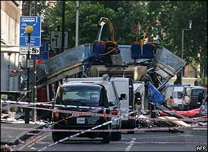 A bus was blown apart in Tavistock Square by the terrorists