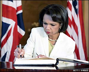 US Secretary of State Condoleezza Rice signs a book of condolence