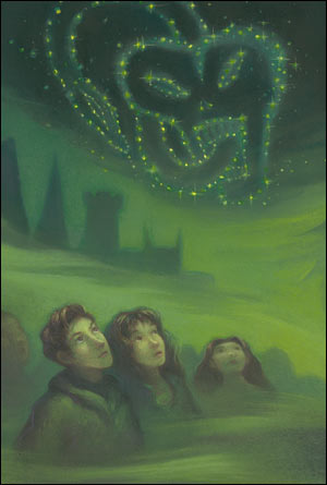 The back cover of the US version shows Ron and Hermione looking up at Voldemort's Dark Mark. Copyright Scholastic