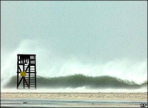 A lifeguard station on Okaloosa Island in Florida is pounded by waves