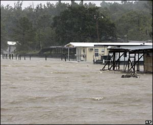 A summer camp is flooded from Hurricane Dennis in Mobile Bay, Alabama