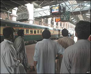 Train passengers in Lahore