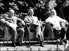 Churchill, Truman and Stalin at Potsdam Conference