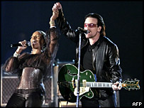 Bono from U2 and Mary J Blige.