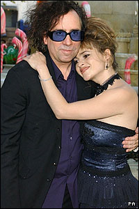 Director Tim Burton poses with Helena Bonham-Carter who is also in the film, starring as Charlie's mum Mrs Bucket.