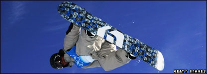 Christophe Schmidt of Germany practices during snowboard training before the Turin 2006 Winter Olympic Games