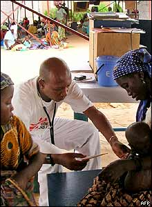 Doctor at work in Medecin sans Frontieres (MSF) camp