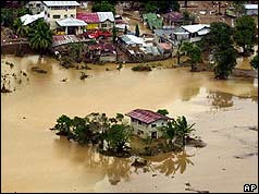 House isolated by floodwaters after 2004 typhoon