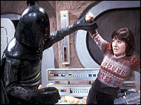 Sarah Jane (Elisabeth Sladen) battles with the Monster of Peladon in a 1974 Dr Who programme.