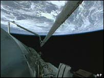 A view of Earth from the shuttle Discovery