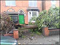Damage caused by a tornado in Birmingham