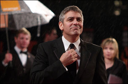 George Clooney makes sure he's smart for the ceremony, which happened in London's Leicester Square...