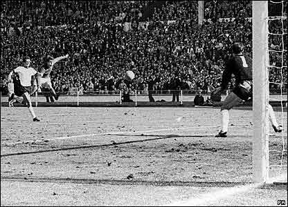 Geoff Hurst scores in the 1966 World Cup Final