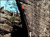 Rock climbers use special ropes and equipment.