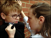 A boy being bullied in the BBC programme Feather Boy