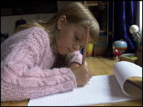 A girl doing homework at a desk in her bedroom