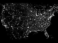 Light pollution over the US