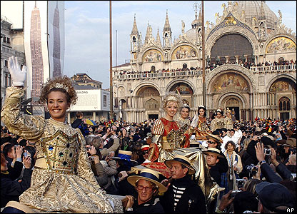 Venice Carnival is famous for the elaborate masks, costumes and fancy balls which take over the streets and canals.
