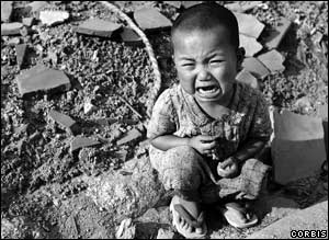 About a third of Hiroshima's population was killed within a week of the bombing. Many more died later through radiation sickness. Between 2,000 and 6,500 children are believed to have been orphaned.