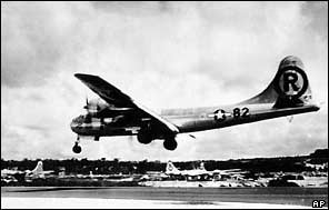 The Enola Gay was the US Air Force plane that carried the atomic bomb to Hiroshima. The aircrew dropped the bomb from 600 metres over the city