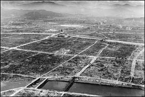 Hiroshima was a  city of about 255,000 people in 1945. The atomic bomb blast flattened buildings within a 2.5 kilometre radius.