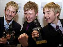 Billy Elliot actors James Lomas, George Maguire and Liam Mower