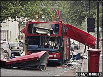 A view of the bus destroyed by a bomb in Woburn Place on 7 July 2005.