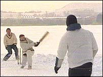 Teams play ice cricket