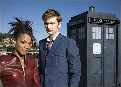 And here's Freema dressed as her character Martha. Along with her new pal the Doctor, and the Tardis of course!