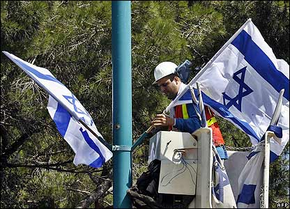 Israeli flags being erected in Haifa
