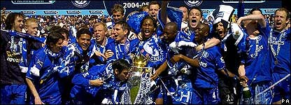 Chelsea celebrate winning the Premiership