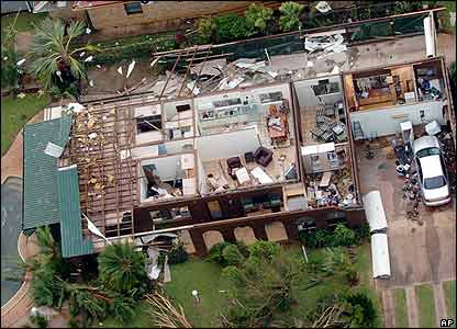 Tropical Cyclone Larry hit Australia on Sunday night, tearing up houses and trees in its path. This house had its roof blown off in the storm