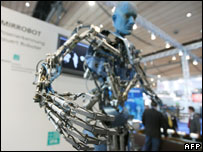 "The Festo 'Tron-X"" robot mimics the gestures of a fair-goer"