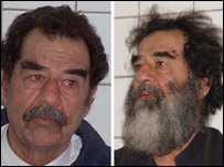 Saddam before and after his capture