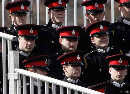 Harry's brother Prince William (middle row, first left) was among many Sandhurst officer cadets watching the Sovereign's Parade. William joined Sandhurst after Harry, so will graduate later