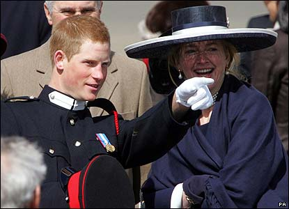 Here Prince Harry has a chat with his former nanny Tiggy Pettifer