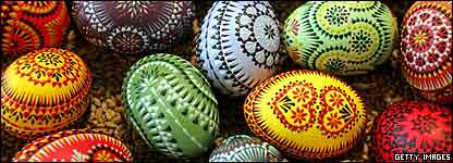 A pile of decorated Easter eggs