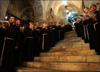 And at the Church of the Holy Sepulchre in Jerusalem's Old City Franciscan monks pray