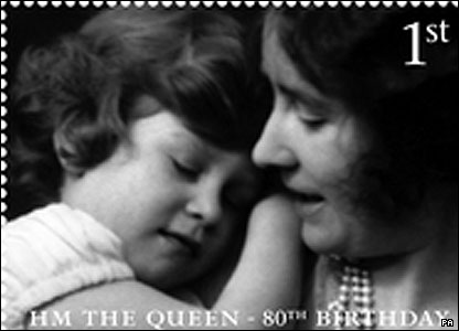 The Queen at five years old with her mother