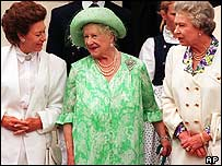 The Queen with her mother and sister