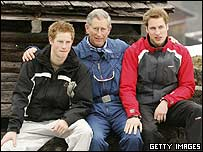 Prince Charles with sons Wlliam and Harry