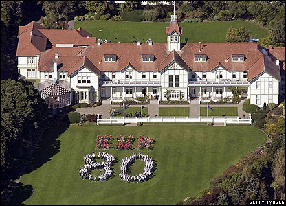 And as far away as New Zealand hundreds of people from all age groups formed a giant number 80 on the front lawn of Government House