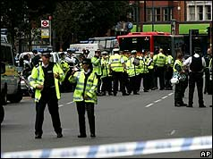 Police cordon on Shepherds Bush Green after security alert