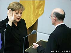Angela Merkel being sworn in as chancellor